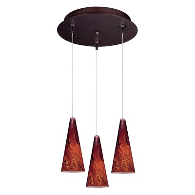 Straton 3-Light RapidJack Pendant and Canopy Glass Color: Amber Lava, Finish: Bronze