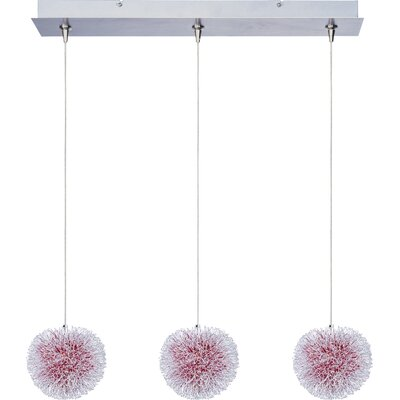 Straton 3-Light RapidJack Pendant and Canopy Glass Color: Red