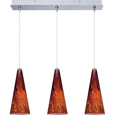 Straton 3-Light RapidJack Pendant and Canopy Glass Color: Amber Lava, Finish: Satin Nickel