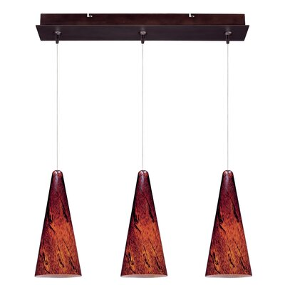 Straton 3-Light RapidJack Pendant and Canopy Glass Color: Amber Lava, Finish: Bronze