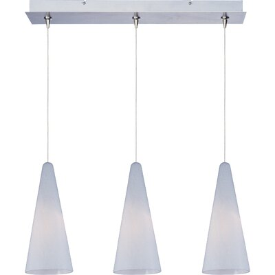 Straton 3-Light RapidJack Pendant and Canopy Glass Color: White Lava, Finish: Satin Nickel