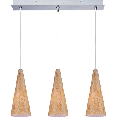 Echo Modern 3-Light RapidJack Glass Shade Pendant and Canopy Glass Color: Gold Lava, Finish: Satin Nickel