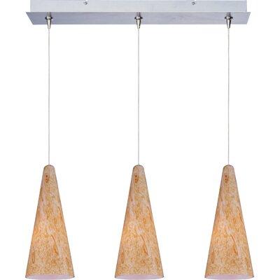 Straton 3-Light RapidJack Pendant and Canopy Glass Color: Gold Lava, Finish: Satin Nickel