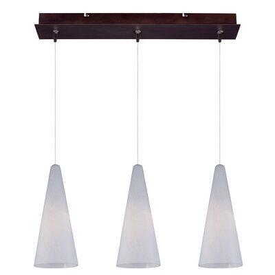 Straton 3-Light RapidJack Pendant and Canopy Glass Color: White Lava, Finish: Bronze