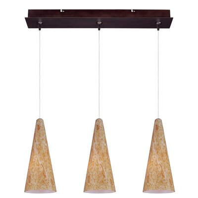 Echo Modern 3-Light RapidJack Glass Shade Pendant and Canopy Glass Color: Gold Lava, Finish: Bronze
