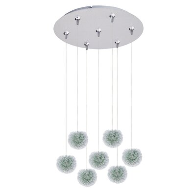 Ewell 7-Light RapidJack Pendant and Canopy Shade Color: Green