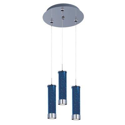 Mendosa 3-Light LED RapidJack Pendant and Canopy Shade Color: Sky Blue
