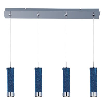 Mendosa 4-Light LED RapidJack Pendant and Canopy Shade Color: Sky Blue