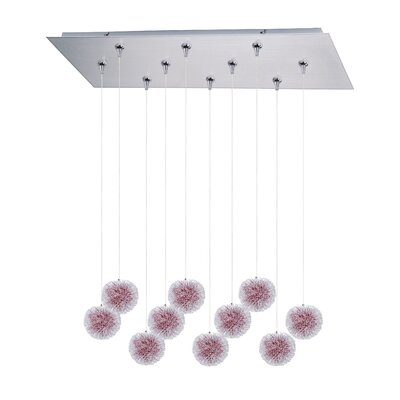 Pleione 10-Light Cascade Pendant Shade Color: Red