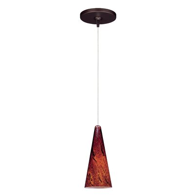 Straton 1-Light RapidJack Pendant and Canopy Glass Color: Amber Lava, Finish: Bronze