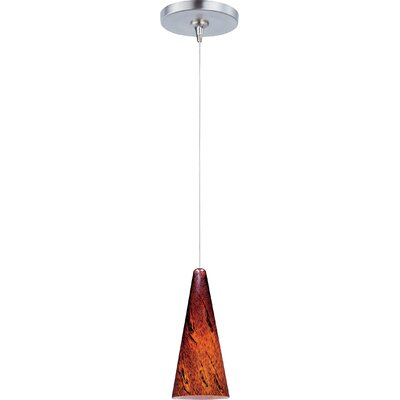 Straton 1-Light RapidJack Pendant and Canopy Glass Color: Amber Lava, Finish: Satin Nickel