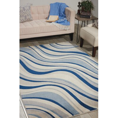 Cherell Ivory/Blue Area Rug Rug Size: 36 x 56