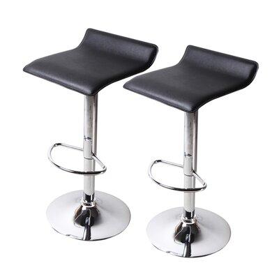 Decker Adjustable Height Swivel Bar Stool Upholstery: Black, Finish: Chrome