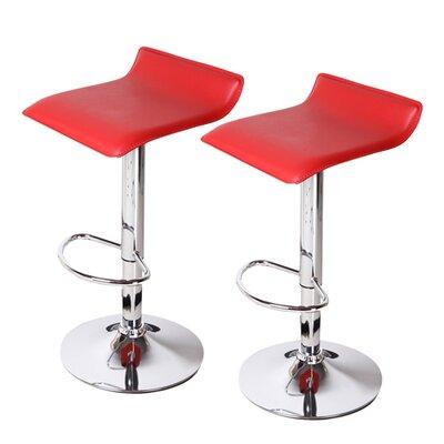Decker Adjustable Height Swivel Bar Stool Upholstery: Red, Finish: Chrome