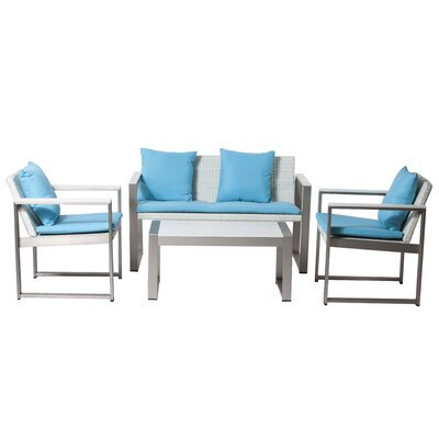 Carrell 17 Piece Patio Set with Cushion Finish: White, Fabric: Turquoise