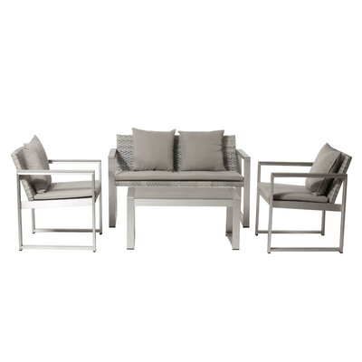 Carrell 17 Piece Patio Set with Cushion Finish: Gray, Fabric: Gray