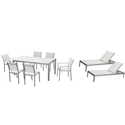 Lindquist 9 Piece Patio Set Finish: White