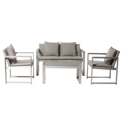 Murdoch 15 Piece Patio Set with Cushion Finish: Gray, Fabric: Gray