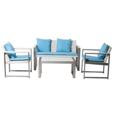 Carrell 15 Piece Patio Set with Cushion Finish: White, Fabric: Turquoise