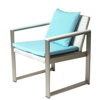 Lindquist 17 Piece Patio Set with Cushion Finish: White, Fabric: Turquoise