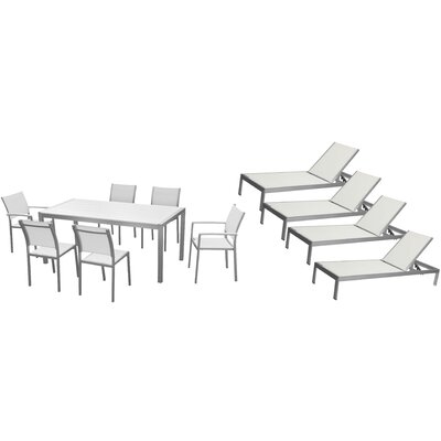 Lindquist 11 Piece Patio Set Finish: White