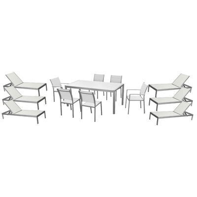 Lindquist 13 Piece Patio Set Finish: White