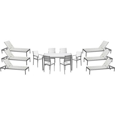 Carrell 13 Piece Patio Set Finish: White