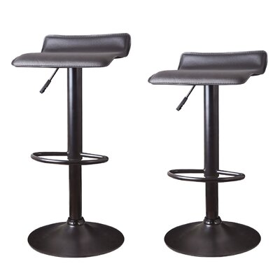 Decker Adjustable Height Swivel Bar Stool Upholstery: Black, Finish: Black