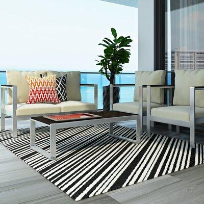 Shaun Black Indoor/Outdoor Area Rug Rug Size: Rectangle 8 x 112