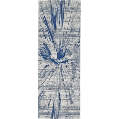 Alexzander Cobalt Machine Woven Cobalt/Beige Area Rug Rug Size: Rectangle 22 x 4