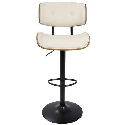 Arlon Adjustable Height Swivel Bar Stool with Cushion Upholstery: Cream