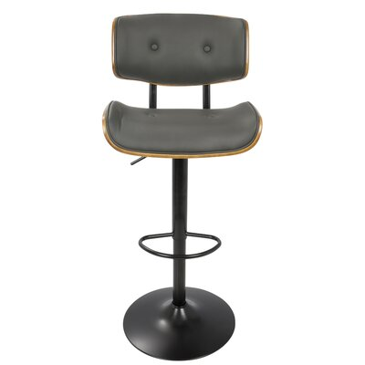 Arlon Adjustable Height Swivel Bar Stool with Cushion Upholstery: Gray