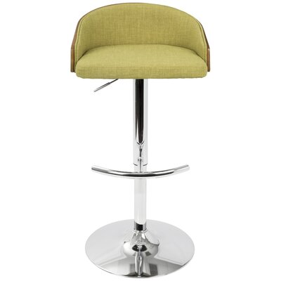 Morford Adjustable Height Bar Stool with Cushion Upholstery: Green