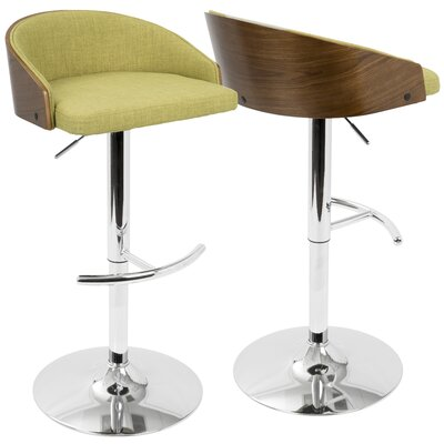 Morford Adjustable Height Bar Stool Upholstery: Green