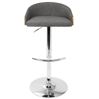 Morford Adjustable Height Bar Stool with Cushion Upholstery: Gray