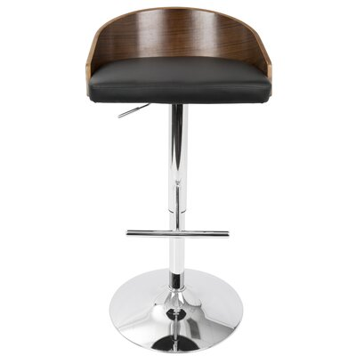 Montross Adjustable Height Swivel Bar Stool with Cushion Upholstery: Black