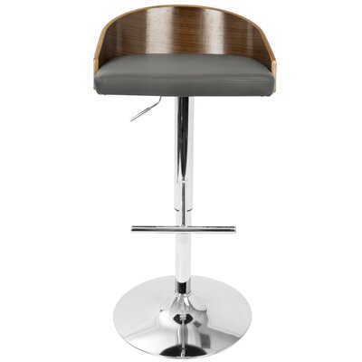 Montross Adjustable Height Swivel Bar Stool Upholstery: Gray