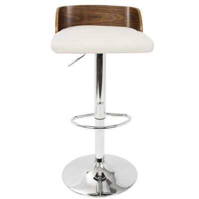 Rockaway Adjustable Height Swivel Bar Stool Upholstery: Cream, Frame Color: Walnut