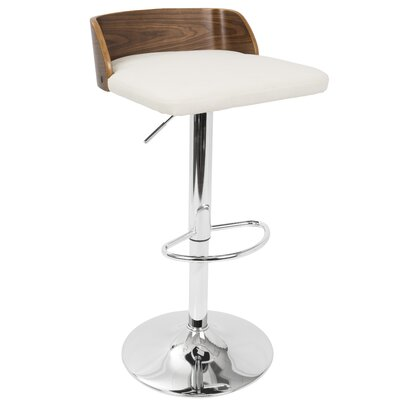 Rockaway Adjustable Height Swivel Bar Stool Upholstery: Cream