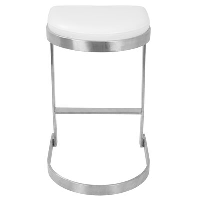 Archimedes 24 inch Bar Stool with Cushion Upholstery: White