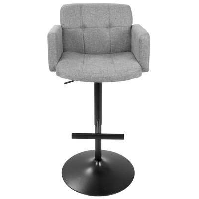 Earleville Adjustable Height Swivel Bar Stool with Cushion