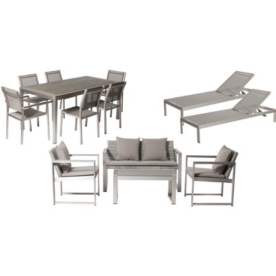 Lindquist 13 Piece Patio Set with Cushion Finish: Silver, Fabric: White/Turquoise