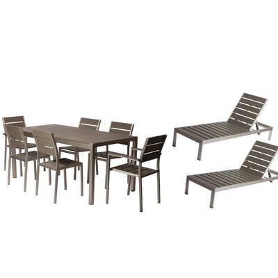 Carrell 9 Piece Patio Set Finish: Gray