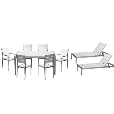 Carrell 9 Piece Patio Set Finish: White