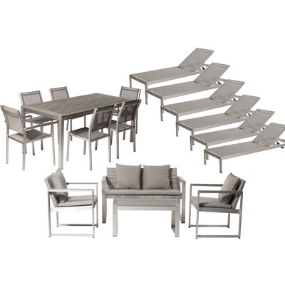 Lindquist 17 Piece Patio Set with Cushion Finish: Silver, Fabric: White/Turquoise