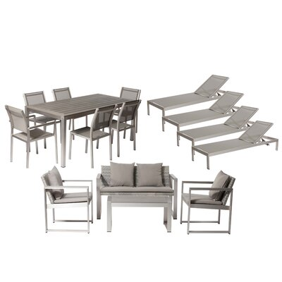 Lindquist 15 Piece Patio Set with Cushion Finish: Silver, Fabric: White/Turquoise