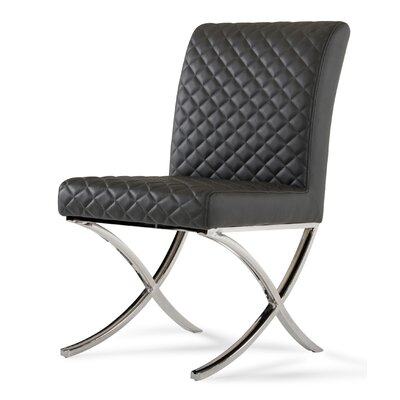 Camron Upholstered Side Chair Upholstery: Dark Grey/Oak