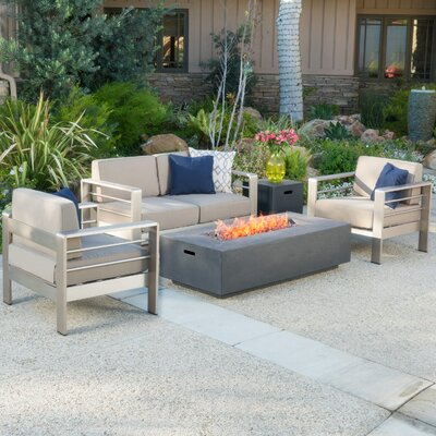 Suzette 5 Piece Lounge Seating Group with Cushions Finish: Gray
