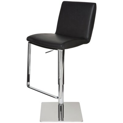 Braxton Adjustable Height Swivel Bar Stool Upholstery: Black Leather