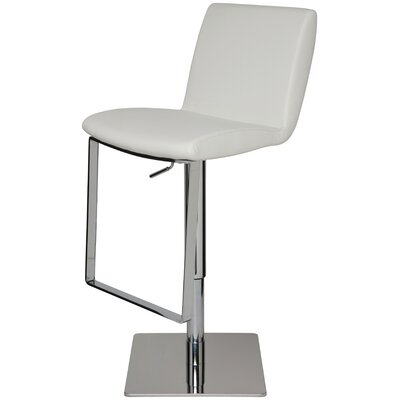 Braxton Adjustable Height Swivel Bar Stool Upholstery: White Leather